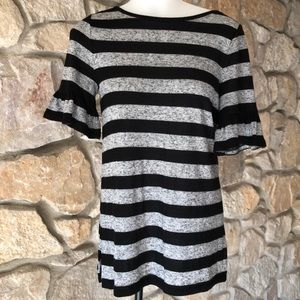 Grey and black striped ruffle sleeve Top